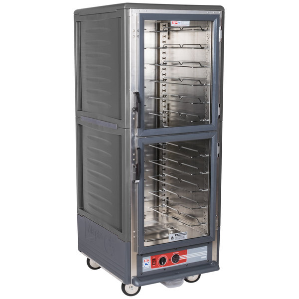 Metro C539-HLDC-U C5 3 Series Insulated Low Wattage Full Size Hot Holding Cabinet with Universal Wire Slides and Clear Dutch Doors - Gray
