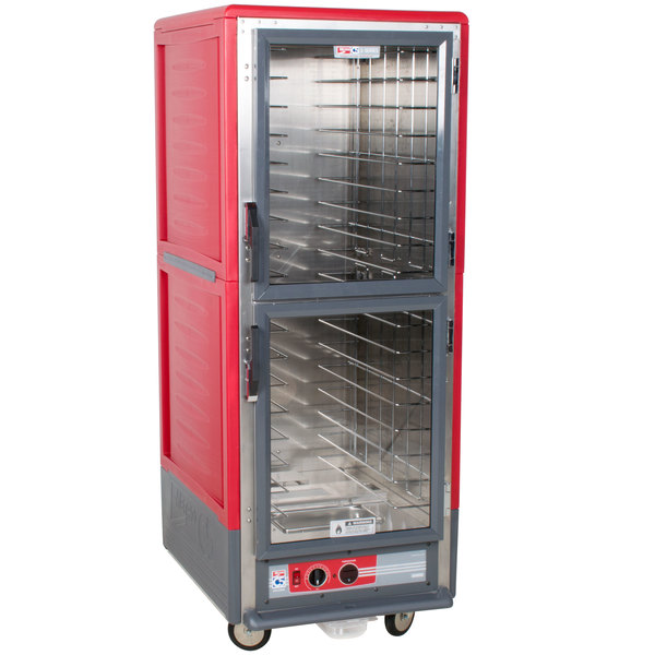 Metro C539-HLDC-L C5 3 Series Insulated Low Wattage Full Size Hot Holding Cabinet with Lip Load Aluminum Slides and Clear Dutch Doors - Red Main Image 1
