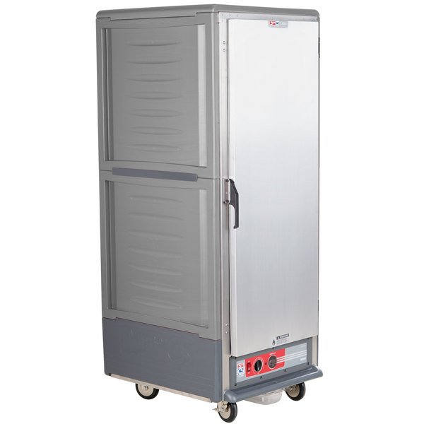 Metro C539-HLFS-4 C5 3 Series Insulated Low Wattage Full Size Hot Holding Cabinet with Fixed Wire Slides and Solid Door - Gray Main Image 1