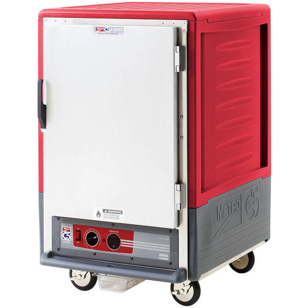 Metro C535-HLFS-4 C5 3 Series Insulated Low Wattage Half Size Heated Holding Cabinet with Fixed Wire Slides and Solid Door - Red Main Image 1