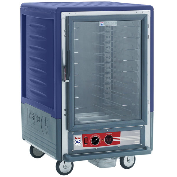 Metro C535-HLFC-L-BU C5 3 Series Insulated Low Wattage Half Size Heated Holding Cabinet with Lip Load Slides and Clear Door - Blue Main Image 1