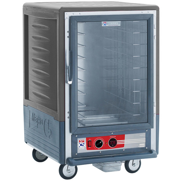 Metro C535-HLFC-L-GY C5 3 Series Insulated Low Wattage Half Size Heated Holding Cabinet with Lip Load Slides and Clear Door - Gray