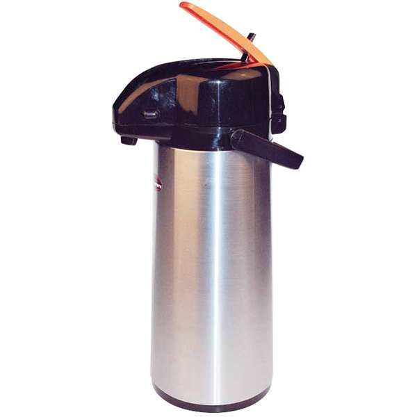 2.2 Liter Glass Lined Stainless Steel Lever Airpot with Orange Decaf Top