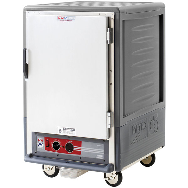 Metro C535-HLFS-4-GY C5 3 Series Insulated Low Wattage Half Size Heated Holding Cabinet with Fixed Wire Slides and Solid Door - Gray Main Image 1