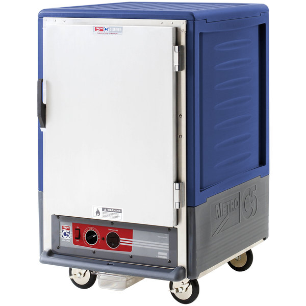Metro C535-HLFS-L-BU C5 3 Series Insulated Low Wattage Half Size Heated Holding Cabinet with Lip Load Aluminum Slides and Solid Door - Blue