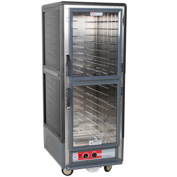 Metro C539-HLDC-L C5 3 Series Insulated Low Wattage Full Size Hot Holding Cabinet with Lip Load Aluminum Slides and Clear Dutch Doors - Gray