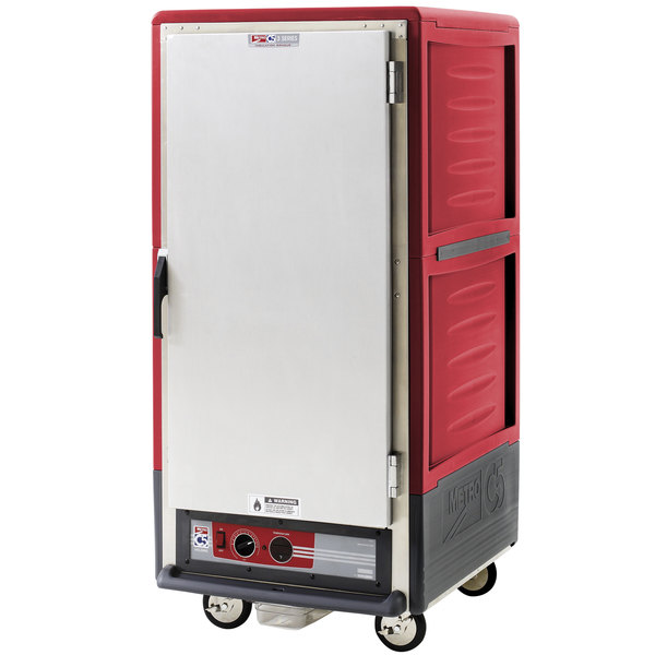 Metro C537-HLFS-L C5 3 Series Insulated Low Wattage 3/4 Size Heated Holding Cabinet with Lip Load Aluminum Slides and Solid Door - Red Main Image 1