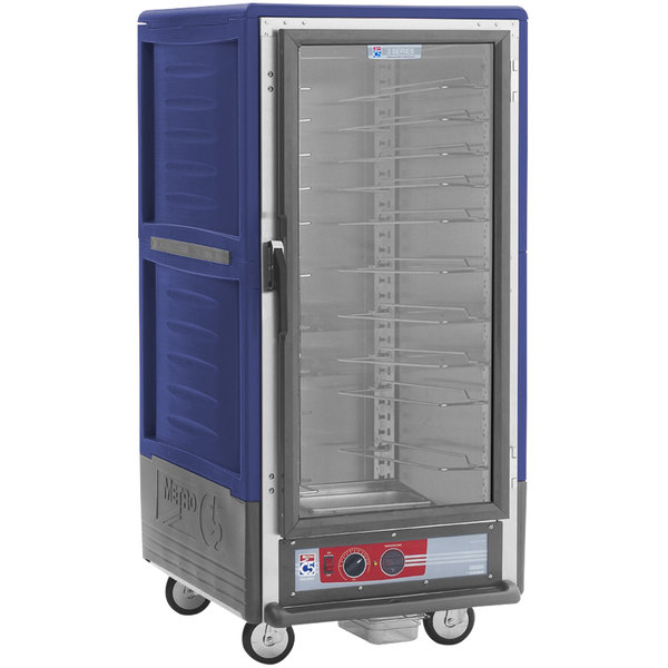 Metro C537-HLFC-U-BU C5 3 Series Insulated Low Wattage 3/4 Size Heated Holding Cabinet with Universal Wire Slides and Clear Door - Blue