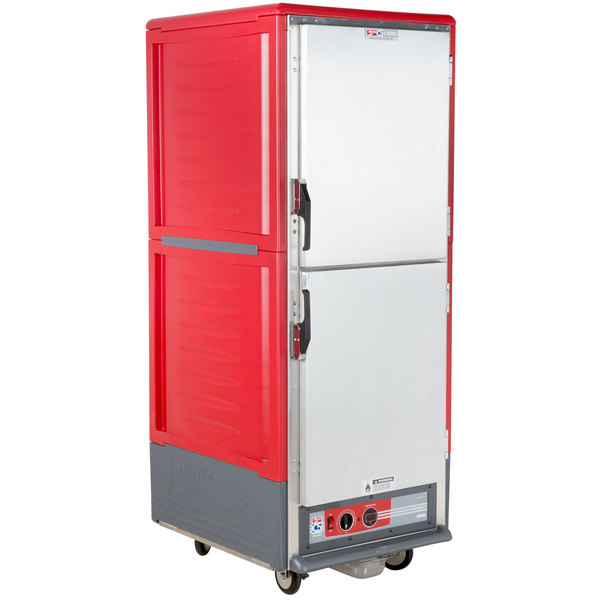 Metro C539-HLDS-4 C5 3 Series Insulated Low Wattage Full Size Hot Holding Cabinet with Fixed Wire Slides and Solid Dutch Doors - Red