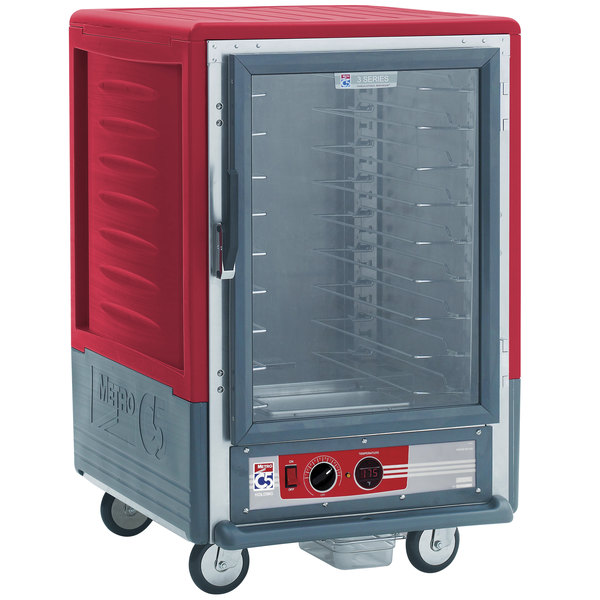 Metro C535-HLFC-U C5 3 Series Insulated Low Wattage Half Size Heated Holding Cabinet with Universal Wire Slides and Clear Door - Red Main Image 1