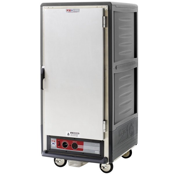 Metro C537-HLFS-4-GY C5 3 Series Insulated Low Wattage 3/4 Size Heated Holding Cabinet with Fixed Wire Slides and Solid Door - Gray