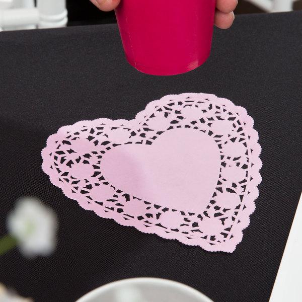 "6"" Pink Paper Heart Doilies - 1000/Case"