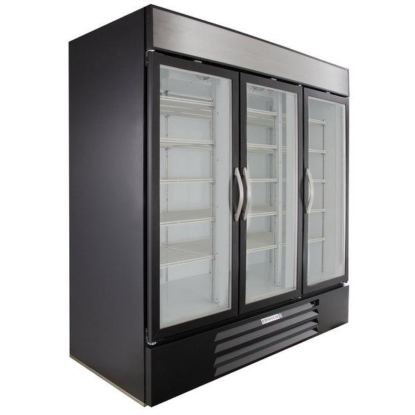 Beverage-Air MMF72-5-B-LED Black Marketmax 3 Glass Door Merchandising Freezer with LED Lighting and Swing Doors - 72 Cu. Ft. Main Image 1