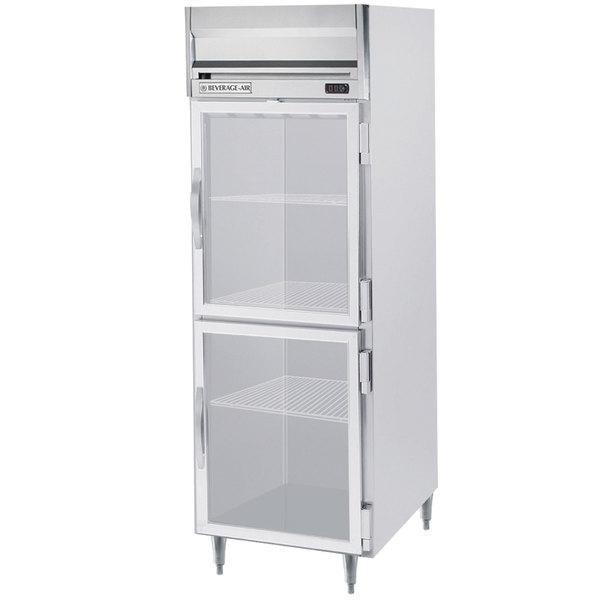 "Beverage-Air HRPS1-1HG Horizon Series 26"" Glass Half Door All Stainless Steel Reach-In Refrigerator with LED Lighting"