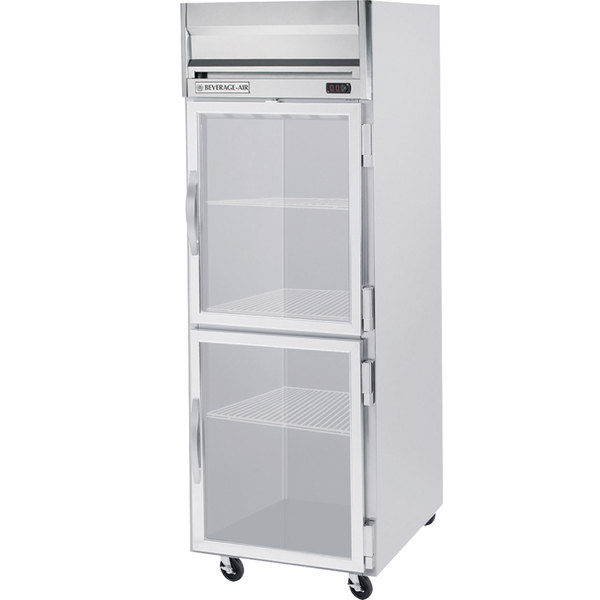 Beverage Air HRPS1-1HG-LED 1 Section Glass Half Door Reach-In Refrigerator - 24 cu. ft., SS Exterior and Interior