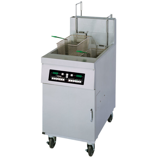 Frymaster HD50G Natural Gas 50 lb. High Efficiency Decathlon Floor Fryer with CM3.5 Controls and Automatic Basket Lifts