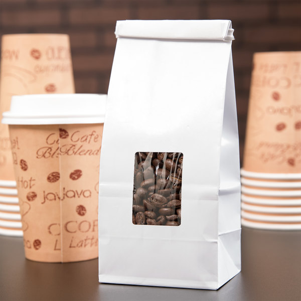 af1fb50ef0 1 2 lb. White Customizable Tin Tie Coffee Bag with Window - 1000 Case