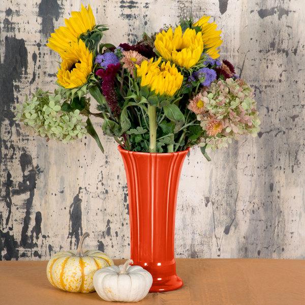 """Homer Laughlin 491338 Fiesta Poppy 9 5/8"""" Medium Vase - 4/Case"""