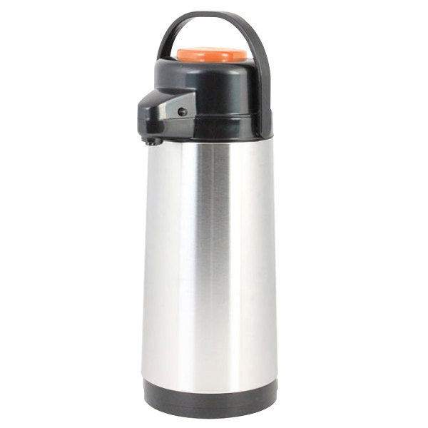 1.9 Liter Glass Lined Black Airpot with Orange Decaf Push Button