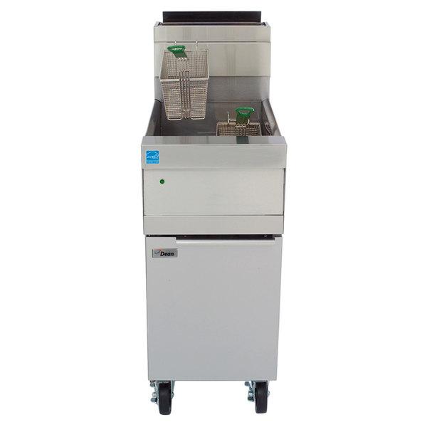 Frymaster HD60G-SBL Liquid Propane 80 lb. High Efficiency Decathlon Floor Fryer with SMART4U 3000 Controls and Basket Lift