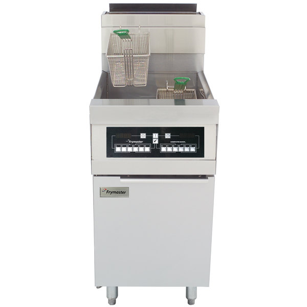 Frymaster HD60G-CBL Liquid Propane 80 lb. High Efficiency Decathlon Floor Fryer with CM3.5 Controls and Basket Lift