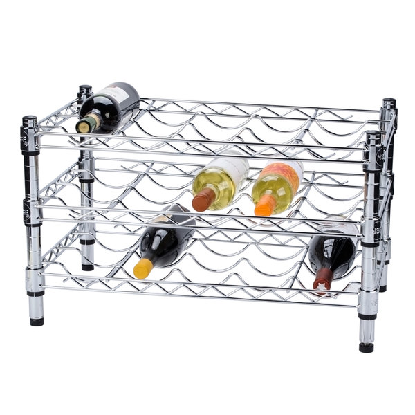 "Regency 14"" x 24"" 3 Shelf Wire Wine Rack with 14"" Posts"