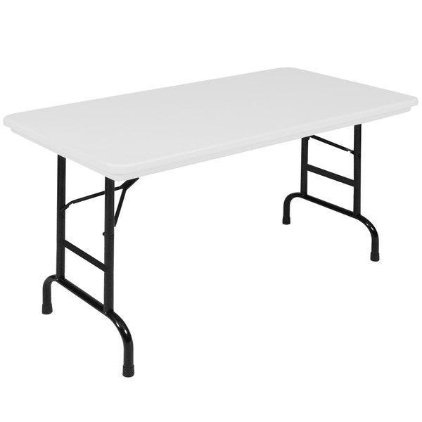 "Correll Folding Table, 24"" x 48"" Plastic Adjustable Height, Gray - R-Series RA2448"