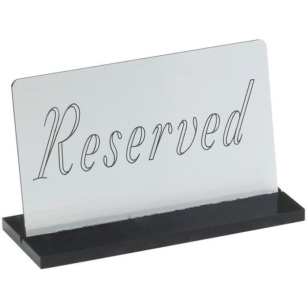 """Cal-Mil 956-10 5"""" x 3"""" Silver """"Reserved"""" Sign"""