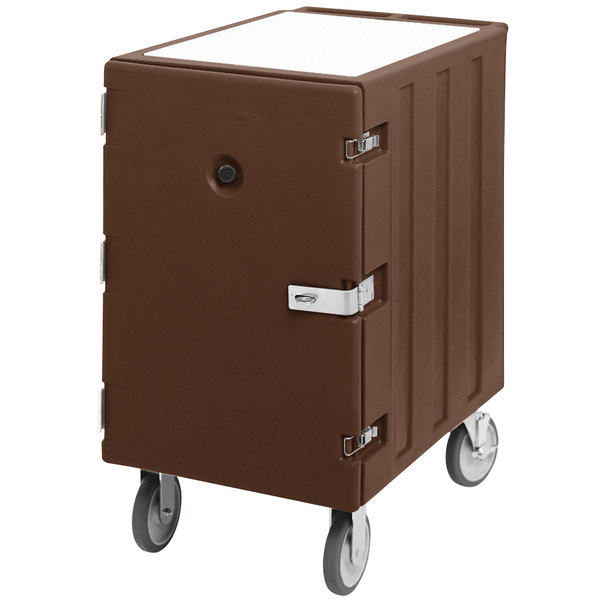 """Cambro 1826LTCSP131 Camcart Dark Brown Mobile Cart for 18"""" x 26"""" Sheet Pans and Trays with Security Package Main Image 1"""