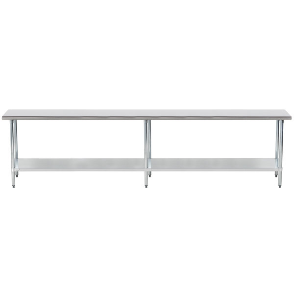 """Advance Tabco GLG-3011 30"""" x 132"""" 14 Gauge Stainless Steel Work Table with Galvanized Undershelf"""