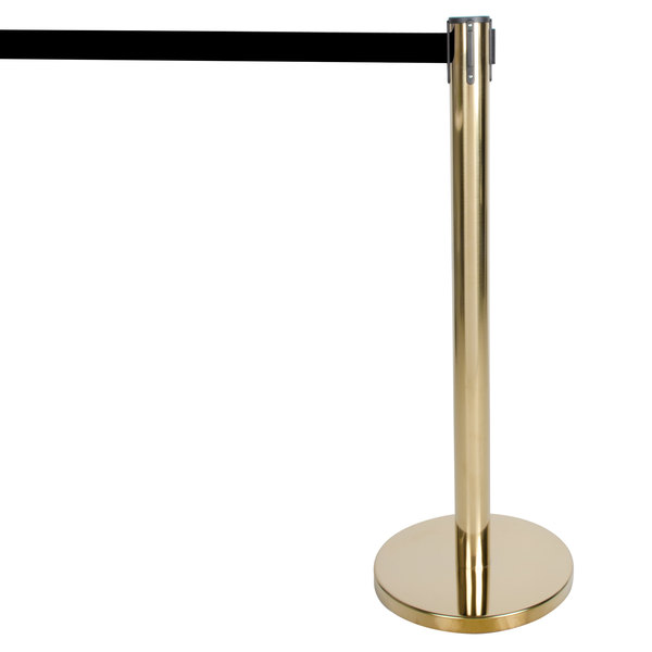 "Aarco HB-7 Brass 40"" Crowd Control / Guidance Stanchion with 84"" Black Retractable Belt"