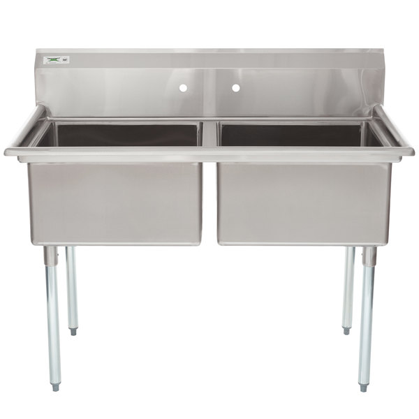 "Regency 53"" 16-Gauge Stainless Steel Two Compartment Commercial Sink without Drainboard - 23"" x 23"" x 12"" Bowls"