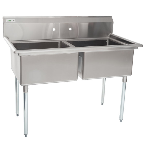 """Regency 53"""" 16-Gauge Stainless Steel Two Compartment Commercial Sink without Drainboard - 23"""" x 23"""" x 12"""" Bowls"""