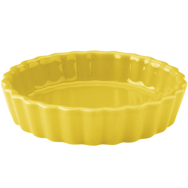 Hall China 30864320 Sunflower 8 oz. Colorations Round Fluted Souffle / Creme Brulee Dish - 24/Case