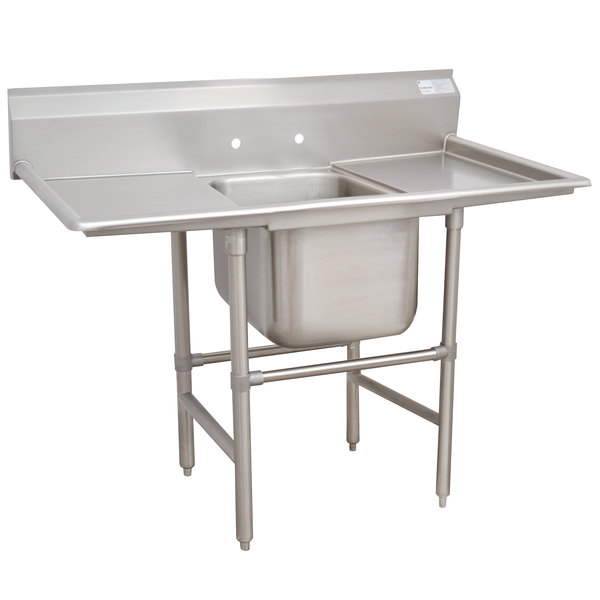"""Advance Tabco 9-21-20-36RL Super Saver One Compartment Pot Sink with Two Drainboards - 94"""""""