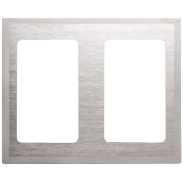 Vollrath 8250216 Miramar Stainless Steel Double Well Adapter Plate with Satin Finish Edge for Two 3/4 Size Food Pans