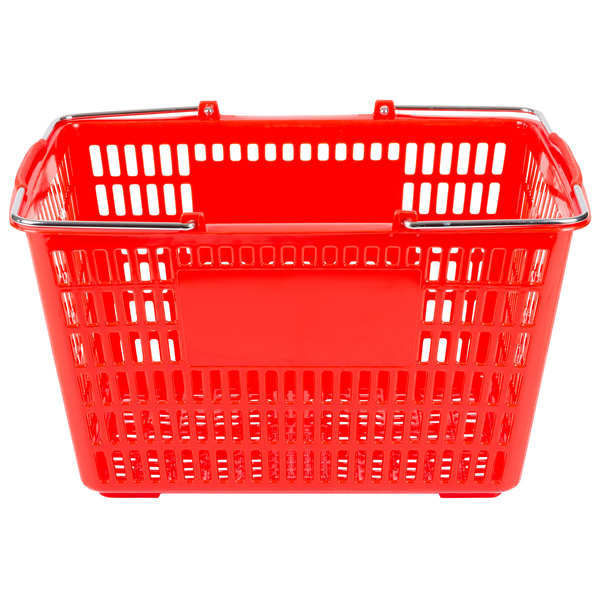 """Red 18 3/4"""" x 11 1/2"""" Plastic Grocery Market Shopping Basket"""