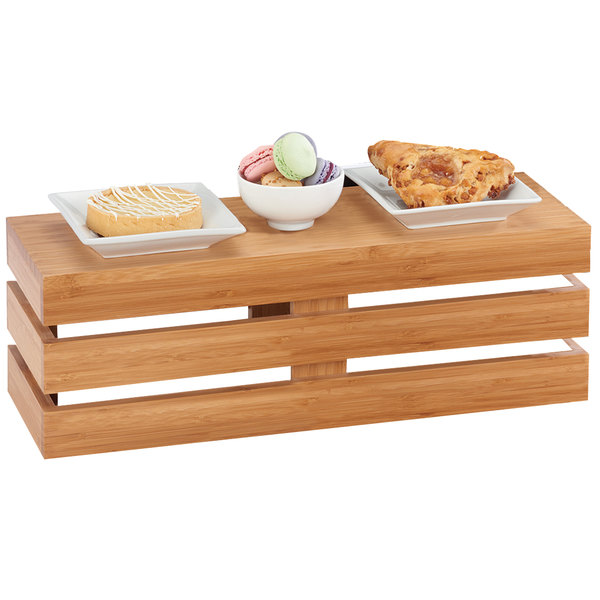 "Cal-Mil 1943-7-60 Bamboo Rectangle Crate Riser - 20"" x 7"" x 7"""