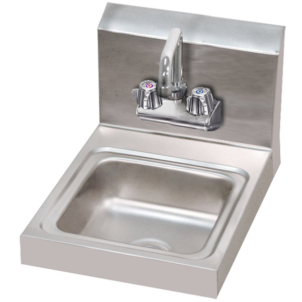 """Advance Tabco 7-PS-23-EC 12"""" x 16"""" Economy Hand Sink with Splash Mount Faucet"""