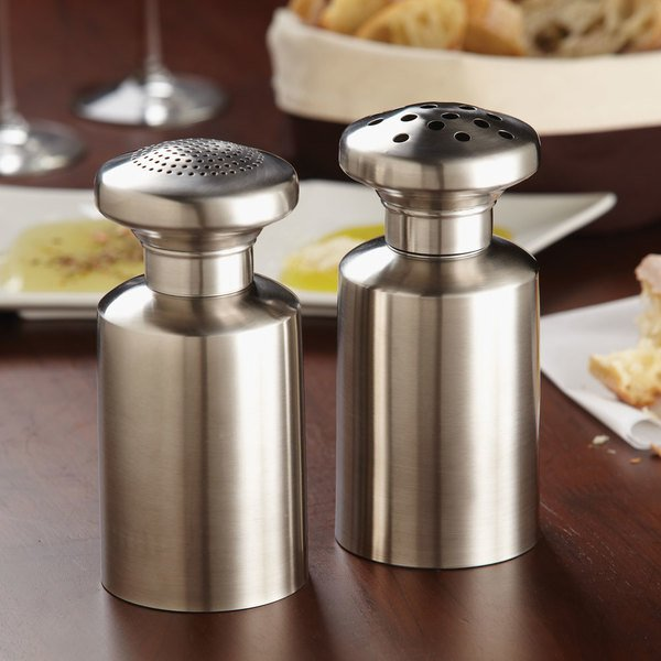 """American Metalcraft TSC7 7""""H Tall Stainless Steel Shaker with Coarse Holes - 16 oz."""