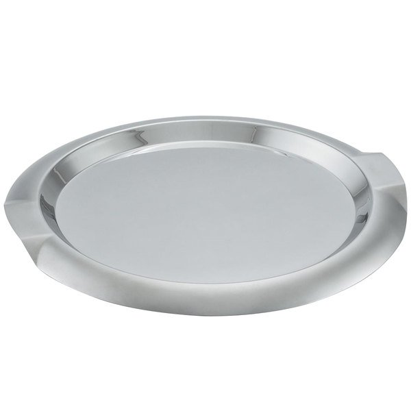 """Vollrath 82096 Round Stainless Steel Serving Tray with Handles - 12"""""""