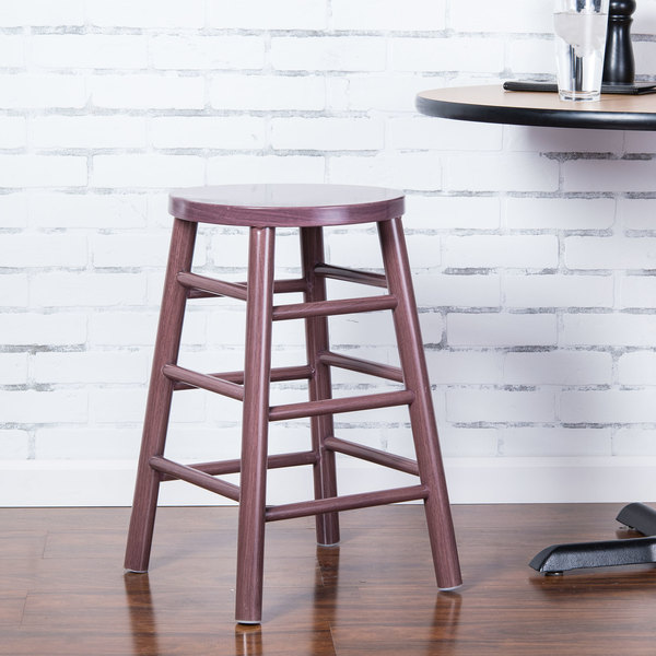 """Lancaster Table & Seating Spartan Series 24"""" Metal Woodgrain Counter Height Stool with Wine Color Finish"""
