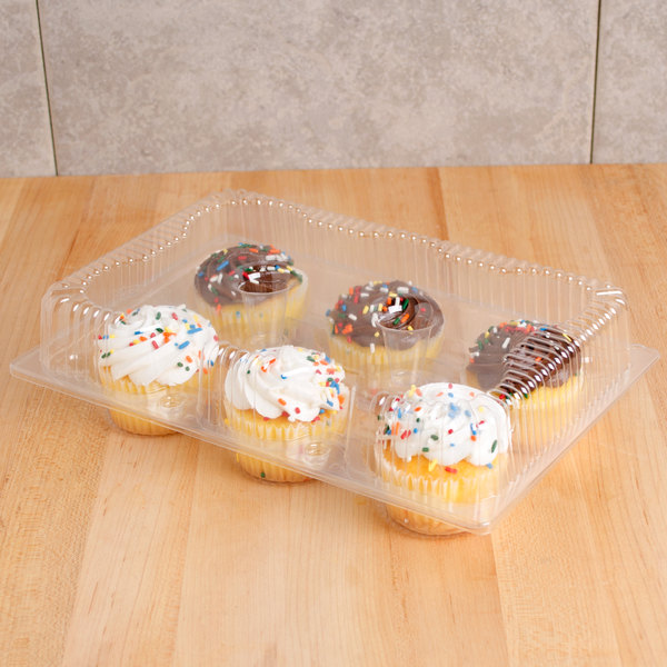 Polar Pak 2029 6-Cup Hinged OPS Plastic 4 oz. Muffin Container - 10/Pack