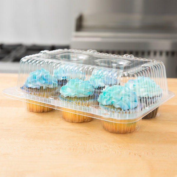 Polar Pak 2020 6-Cup High Top Hinged OPS Plastic Cupcake Container - 10/Pack Main Image 3