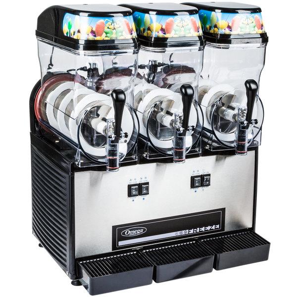 Omega OFS30 Black and Stainless Steel Triple 3 Gallon Pourover Slushy / Granita Machine - 120V Main Image 1