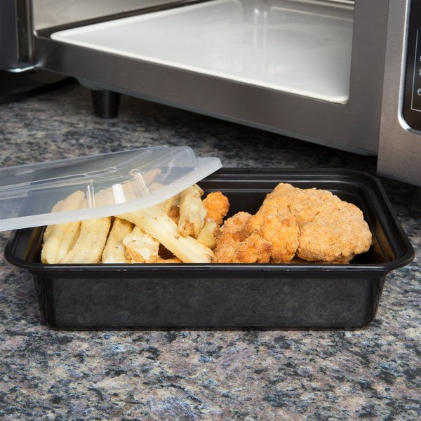 "Pactiv Newspring NC888B 38 oz. Black 6"" x 8 1/2"" x 2"" VERSAtainer Rectangular Microwavable Container with Lid - 150/Case"