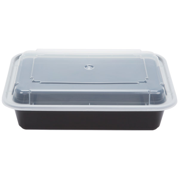 Newspring NC-888-B 38 oz. Black 6 inch x 8 1/2 inch x 2 inch VERSAtainer Rectangular Microwavable Container with Lid - 150/Case