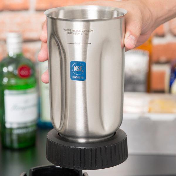 Waring 501460 32 oz. Stainless Steel Blender Jar with Black Jar Bottom Assembly for Blenders