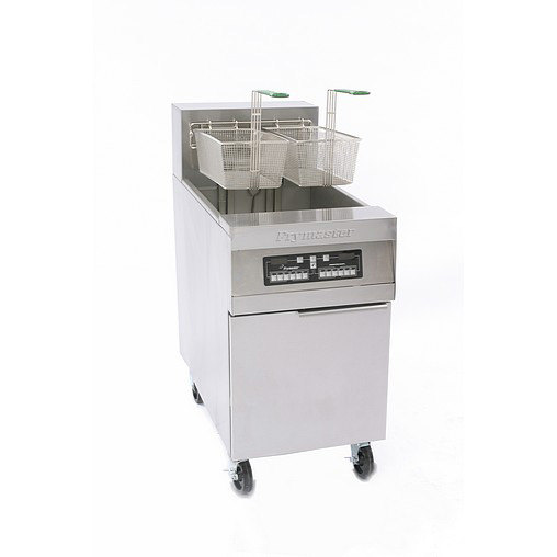 Frymaster RE180 80 lb. High Production Electric Floor Fryer with CM3.5 Controls and Automatic Basket Lifts - 208V, 3 Phase, 17 KW Main Image 1