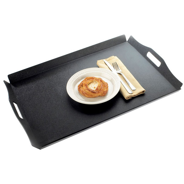 """Cal-Mil 930-2-13 16"""" x 13"""" Black Room Service Tray with Raised Edges"""